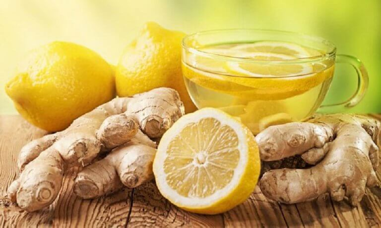 Ginger, lemon, and honey tea