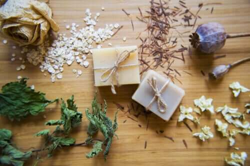 A selection of homemade soaps.