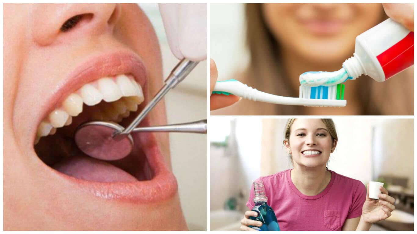 Mondverzorging met tandpasta, mondwater en tandartsbezoek