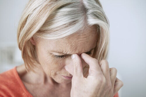A woman suffering from chronic sinusitis.