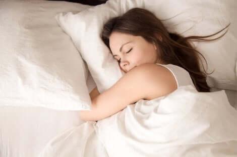 A woman sleeping.