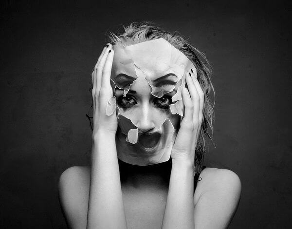 Your partner is your mirror: girl with a broken mask