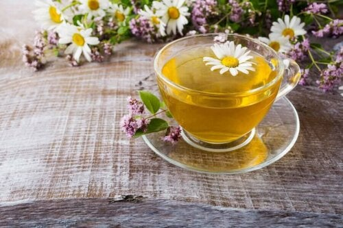 A cup of chamomile tea which helps get rid of bags under eyes.