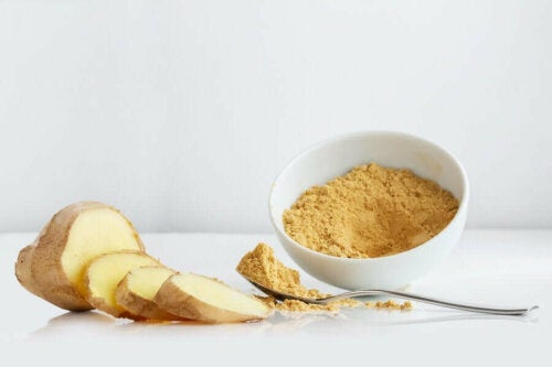 Some crushed ginger which can help relieve bloating.