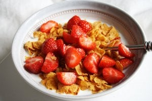 children cereal with strawberries
