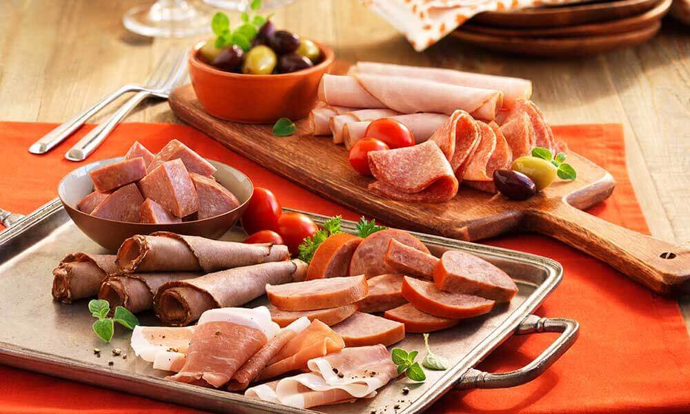 A plate of cold meats.