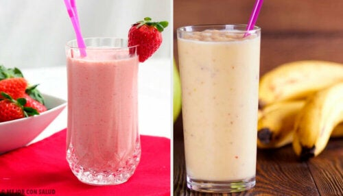 Five Breakfast Shakes with Strawberries and Bananas