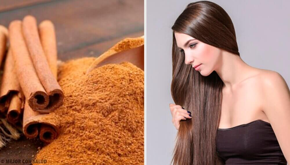 Woman with shinny hair who used cinnamon hair masks
