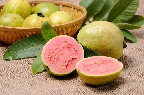 Guava cut into two pieces