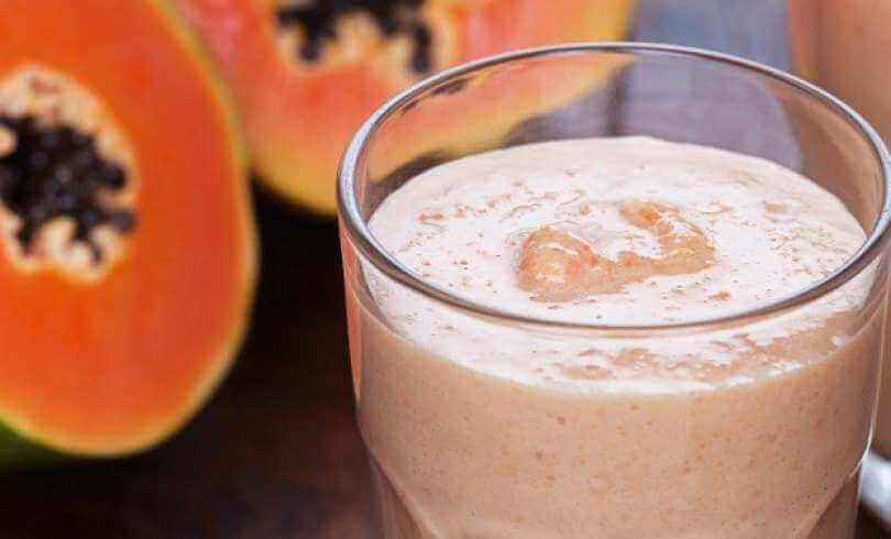 Papaya and almond milk smoothie.