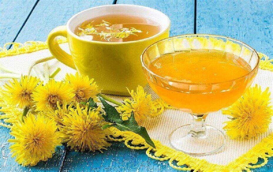 Two cups of dandelion tea