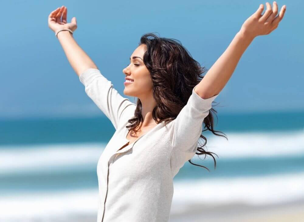 A woman feeling free.