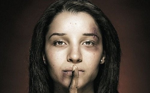injured woman from domestic violence