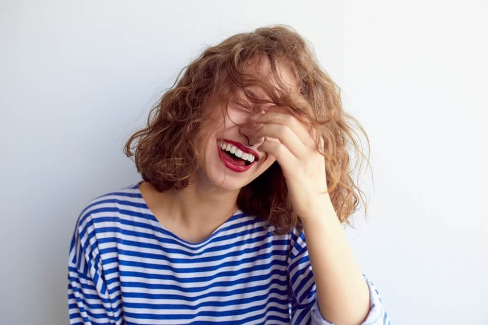a woman laughing