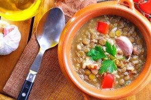 lentil, kale, and sweet potato soup