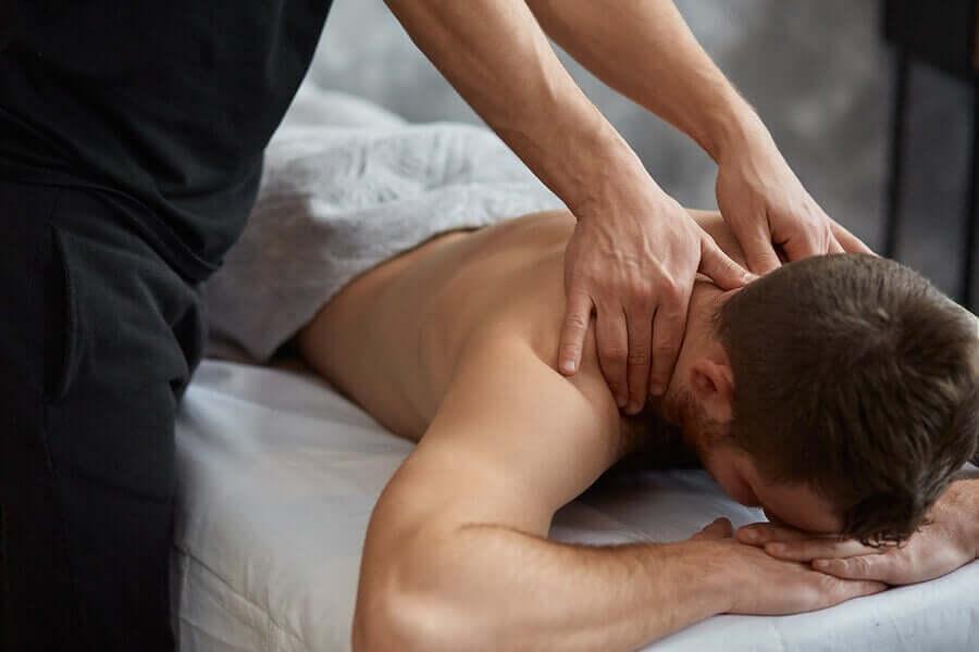 A man getting a neck massage.