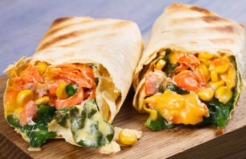 Sweetcorn and vegetable burritos