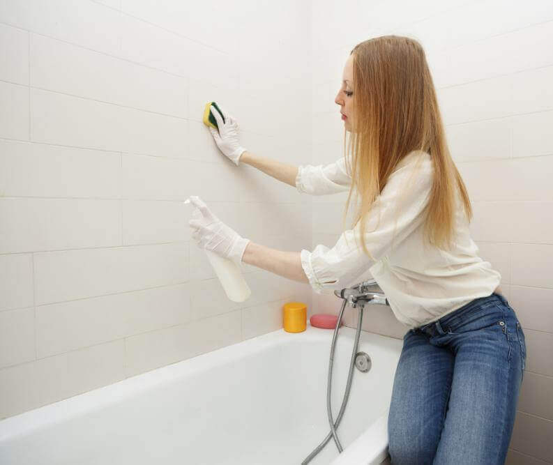 Cleaning mold in the bathroom
