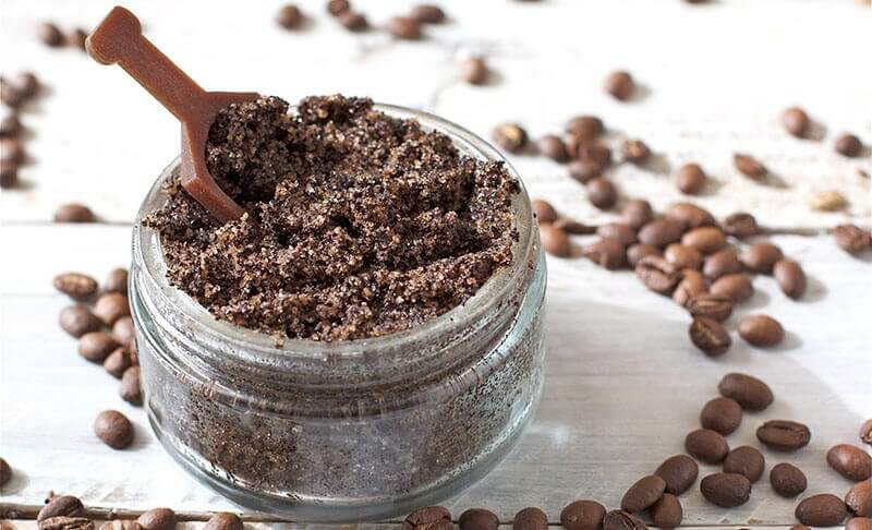 Coffee and coconut oil scrub for stretch marks.