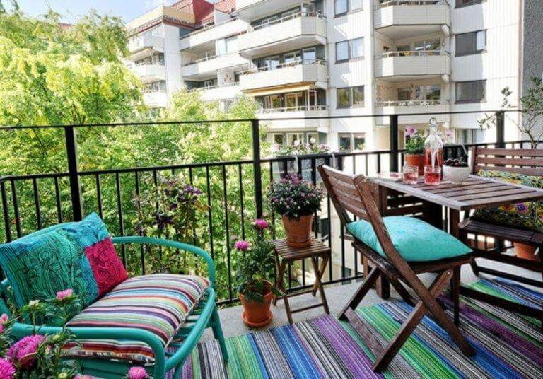 Colorful balcony furniture with flowers