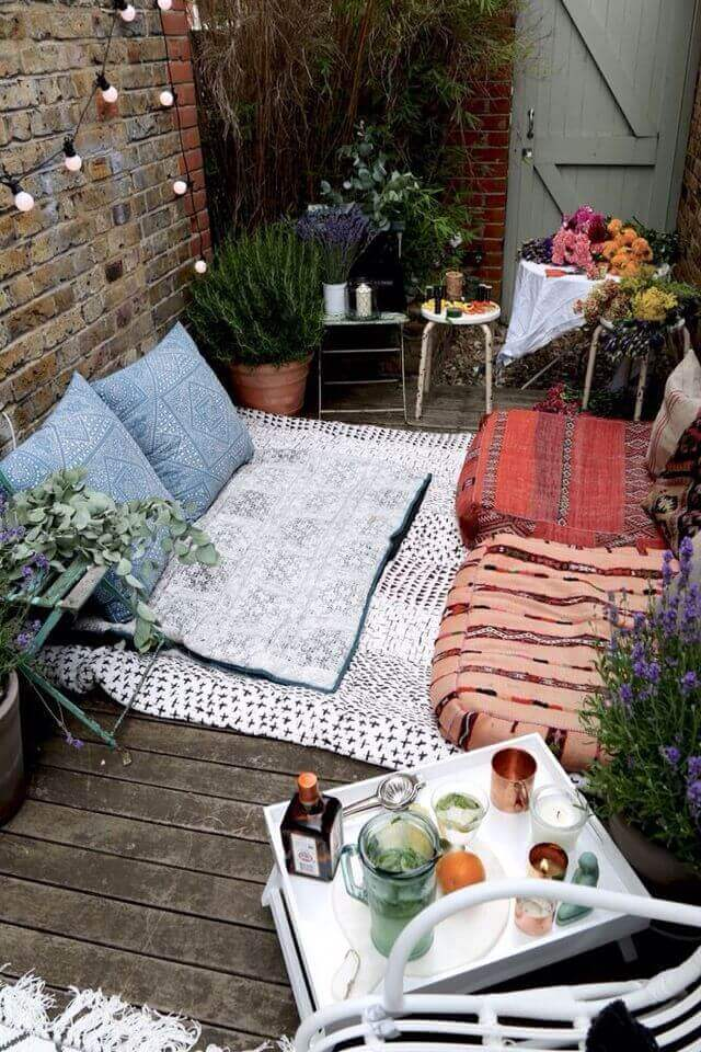 Cushions and decorations on balcony garden