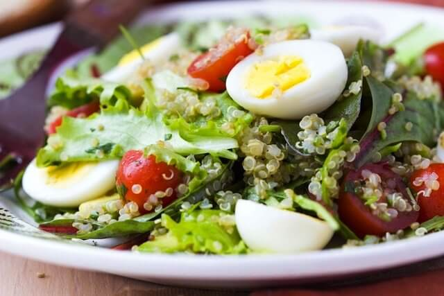 Lettuce asparagus tuna and hard-boiled eggs