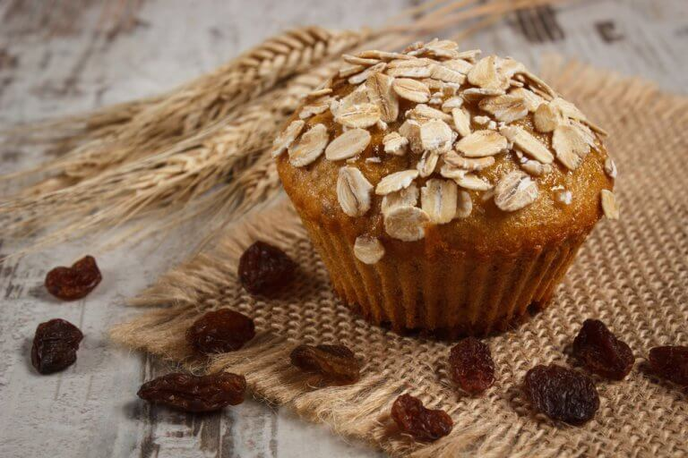 Nutritious, gluten free, lactose free oat muffins