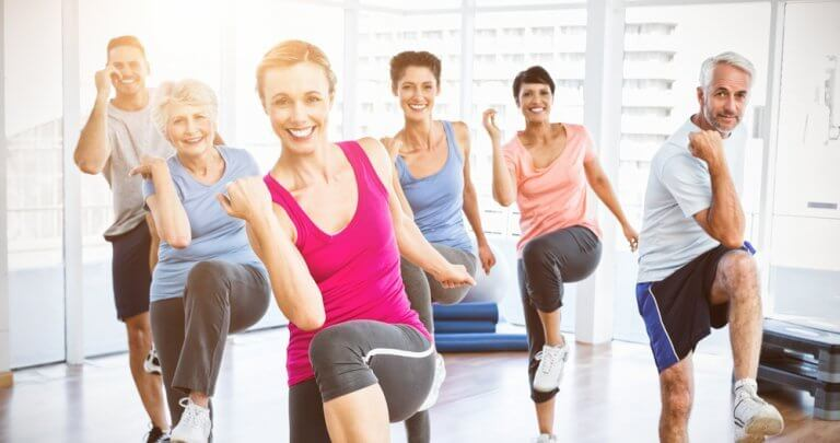 Group exercise class with older adults.