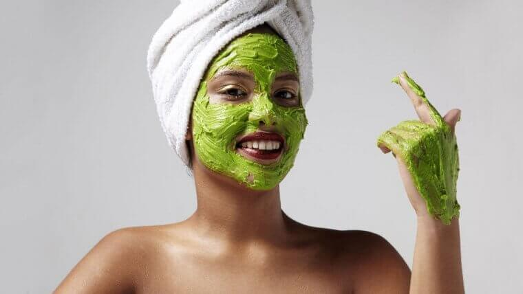 Green avocado face mask.