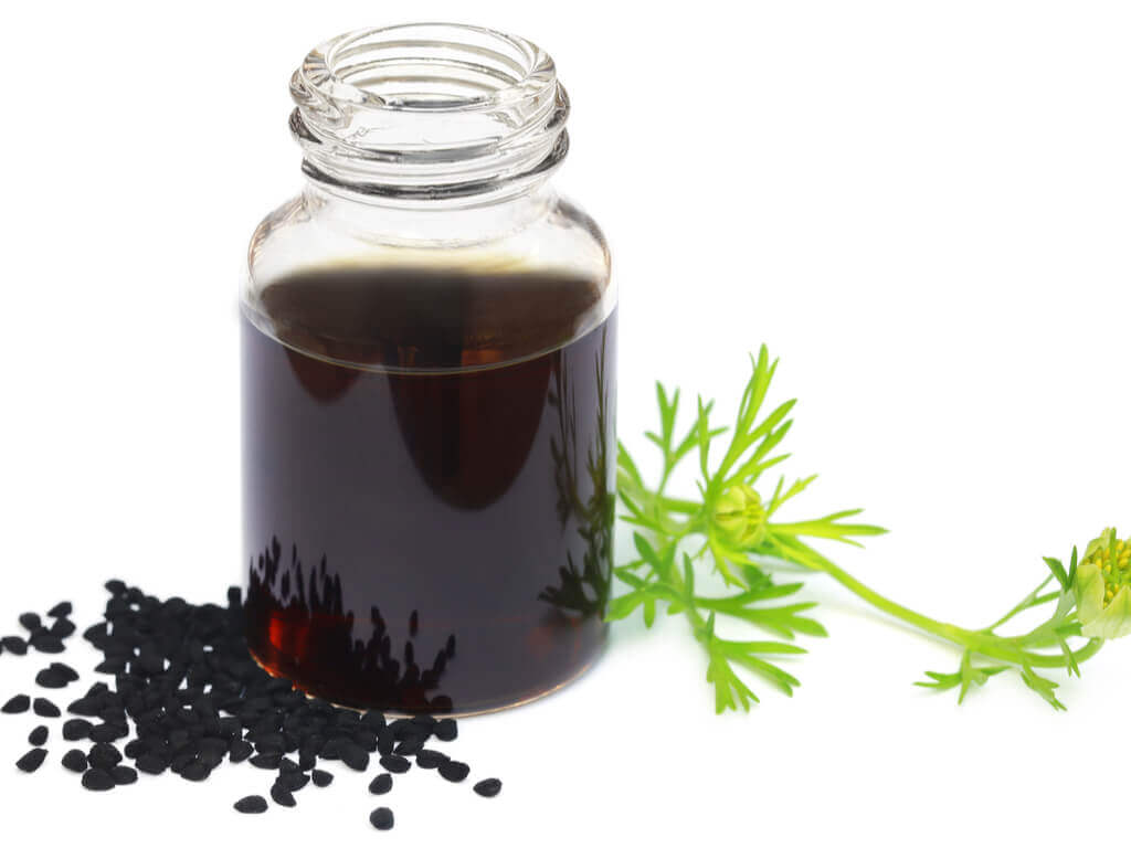 black seed oil in a jar