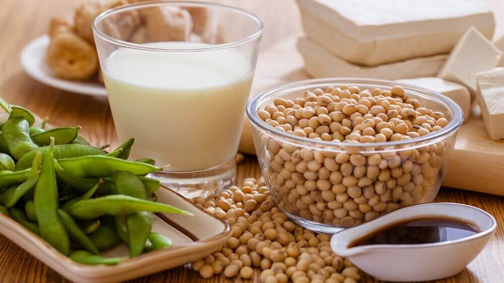 Soy beans and milk.