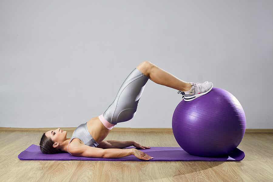 Girl doing pilates.