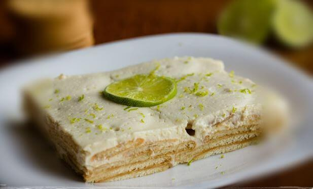Lemon charlotte topped with limes.