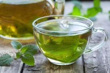 A cup of mint tea.