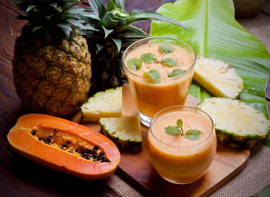 Pineapple papaya smoothie.