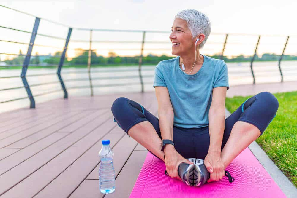 Exercises for people over 40: woman outdoors.