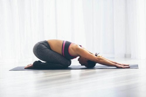 Child's pose, yoga pose to get rid of gas.