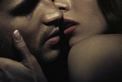 A couple loving passionately.
