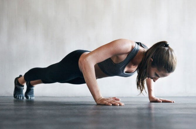 This woman knows you can shape your figure with push ups.