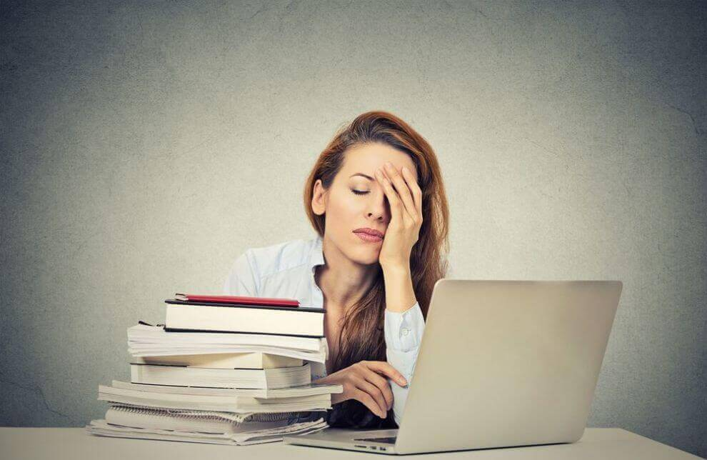 Woman overburdened with work
