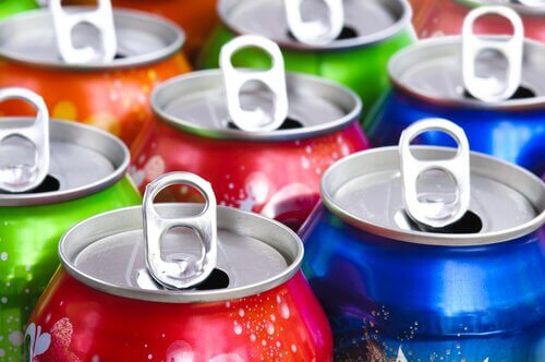 Some opened cans of different colors.