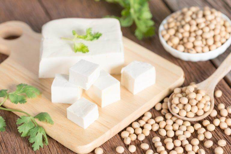 Some tofu which is an alternative to animal protein.