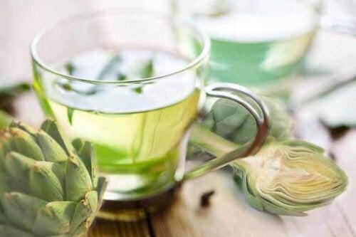 A cup of artichoke tea.