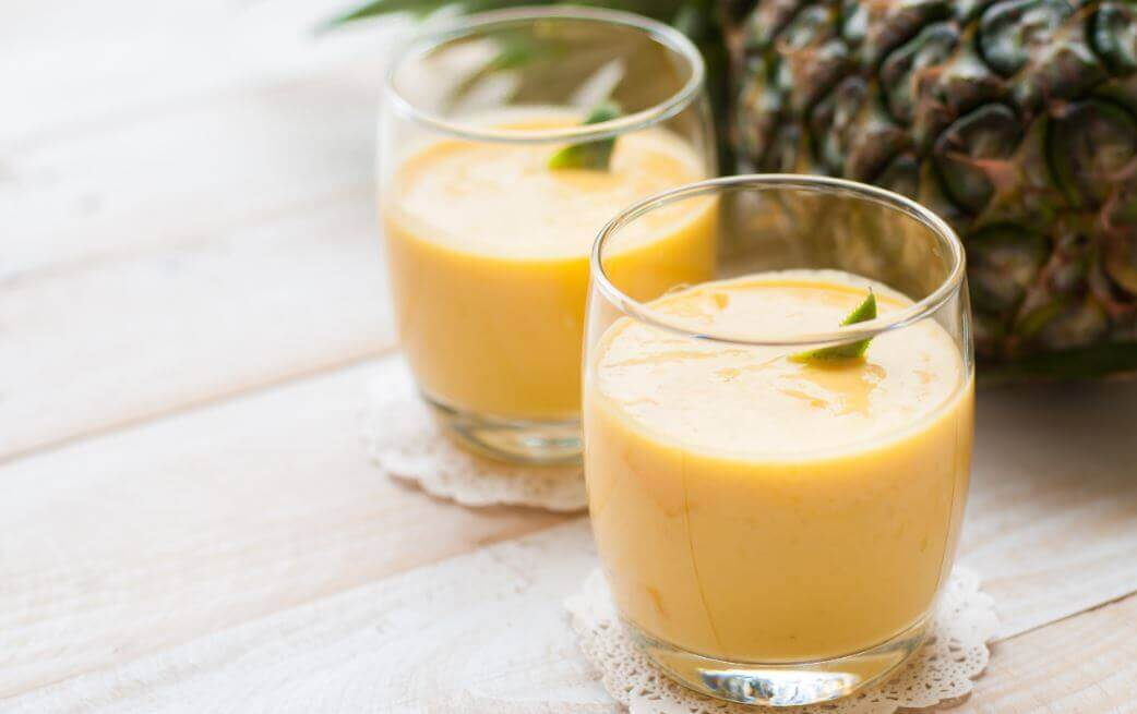 Homemade papaya and pineapple smoothie
