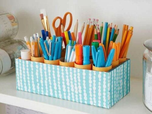desk organizer with pens, pencils, scissors etc.