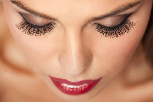 a woman with thick eyelashes