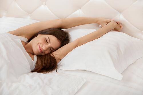 woman sleeping happily