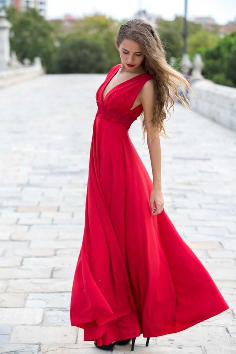 Woman wearing long dress