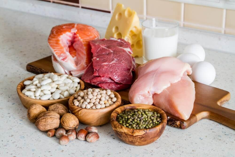 Sources of protein and fats on a chopping board