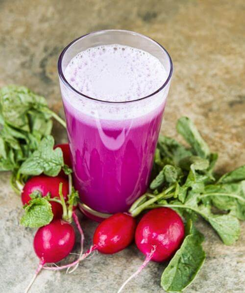 a glass of radish juice
